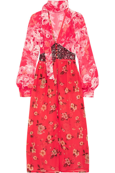 Attico - Beatriz Floral-print Silk-chiffon Dress - Red