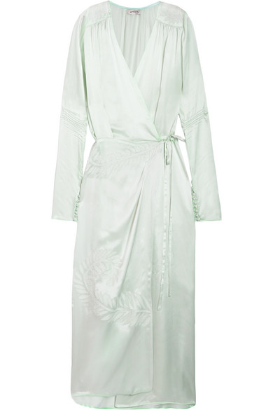 Attico - Gabriela Embroidered Silk-satin Wrap Dress - Mint