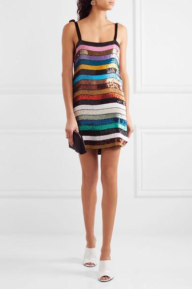 Attico Sabrina Sequined Georgette Mini Dress Net A