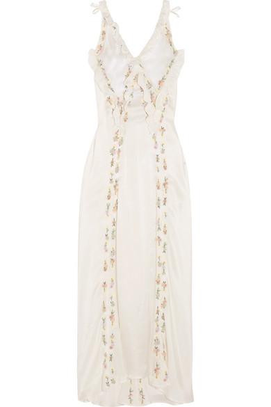 Attico - Marisa Embellished Embroidered Silk-satin Maxi Dress - Ivory