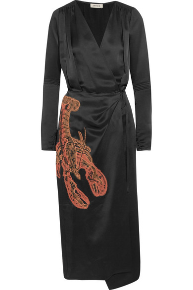 Gabriela beaded appliquéd satin wrap dress