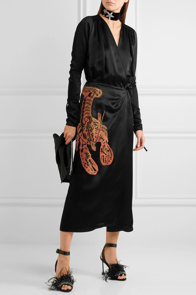 Attico Lobster Beaded Satin Midi Wrap Dress Black Nero