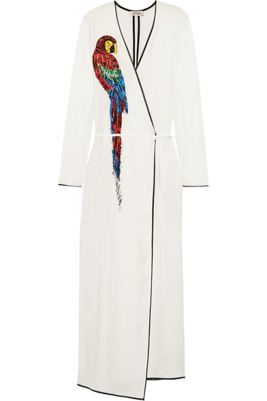 Attico - Raquel Beaded Appliquéd Twill Wrap Maxi Dress - Off-white