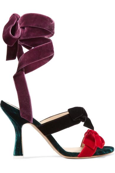 Attico - Diletta Bow-embellished Velvet Sandals - Black
