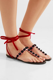 Vanessa embellished satin and velvet sandals
