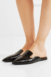 Attico Elena croc-effect leather slippers