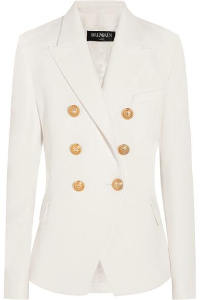 Balmain - Double-breasted Basketweave Cotton Blazer - White