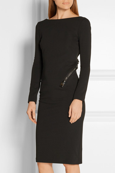 Tom Ford Dress In Stretch Crêpe With Back-cutting And Zip Detail