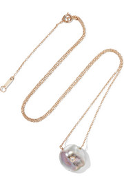 Station Solitaire 14-karat gold, diamond and pearl necklace