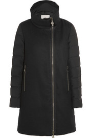 Aglaia paneled twill and quilted shell down coat
