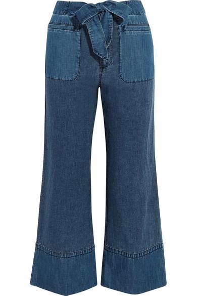 J.Crew - Gaffney Linen-blend Chambray And Denim Wide-leg Pants - Blue