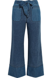 Gaffney linen-blend chambray and denim wide-leg pants