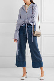 J.Crew Gaffney linen-blend chambray and denim wide-leg pants