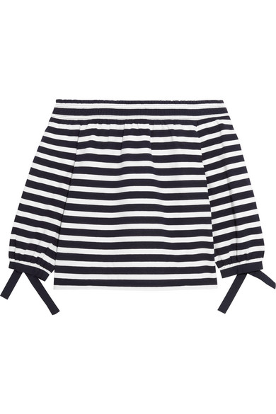 J.Crew - Off-the-shoulder Striped Cotton-jersey Top - Midnight blue