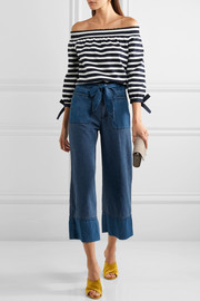 J.Crew Off-the-shoulder striped cotton-jersey top
