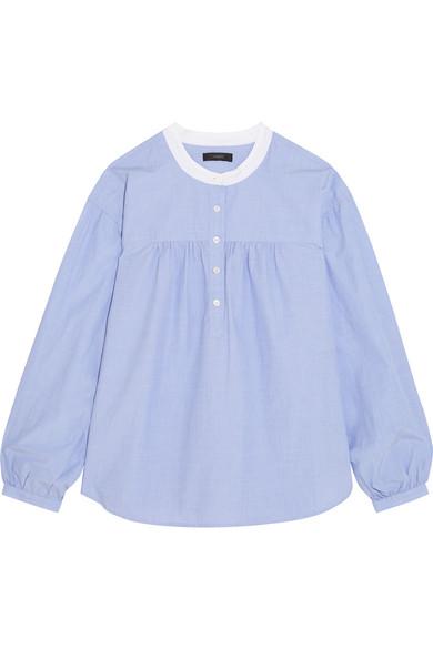 J.Crew - Raspberry Gathered Cotton Blouse - Blue