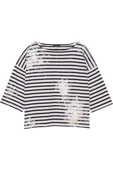 J.Crew - Painted Striped Cotton-jersey Top - Midnight blue