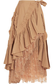 J.Crew Ruffled pleated cotton-blend poplin and polka-dot tulle midi skirt