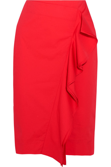J.Crew - Ruffled Cotton-blend Poplin Skirt - Red