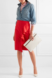 J.Crew Ruffled cotton-blend poplin skirt