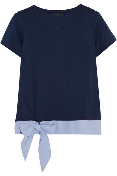 J.Crew - Poplin-trimmed Cotton-jersey T-shirt - Navy