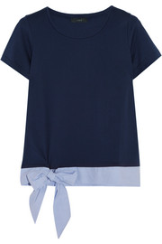 Poplin-trimmed cotton-jersey T-shirt