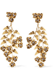 Jennifer Behr Aveline gold-plated Swarovski crystal earrings