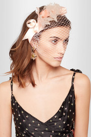 Lily floral-appliquéd silk-organza and satin veiled headband
