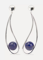Moon silver lapis lazuli earrings