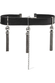 Benton Gates tasseled silver and textured-leather choker