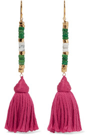 Aurélie Bidermann Sioux gold-plated, stone and tassel earrings
