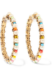 Erickson Beamon Safari gold-plated, Swarovski crystal and bead earrings
