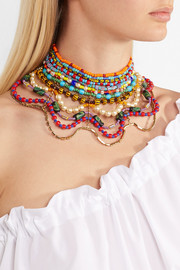 Erickson Beamon Safari gold-plated, Swarovski crystal and bead necklace