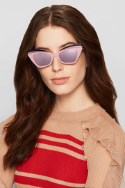 Babou cat-eye acetate and silver-tone mirrored sunglasses
