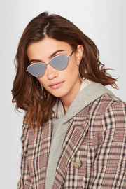Bazaar cat-eye silver-tone mirrored sunglasses