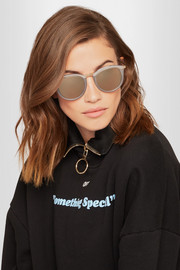 No Smirking round-frame acetate and gold-tone mirrored sunglasses