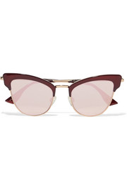 Ashanti cat-eye acetate and gold-tone mirrored sunglasses