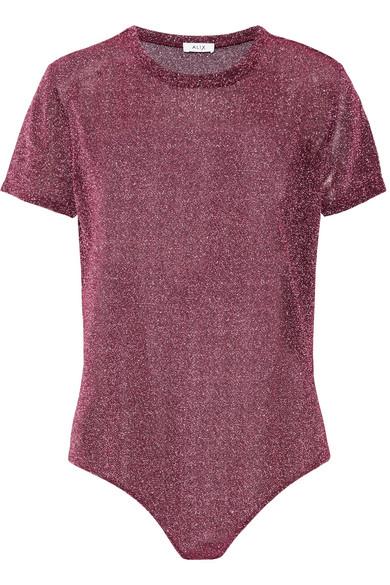 Alix - Essex Metallic Stretch-knit Bodysuit - Plum