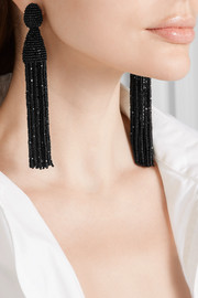Oscar de la Renta Beaded clip earrings