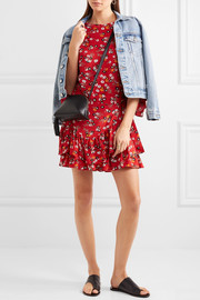Maje Ruffled floral-print crepe mini dress