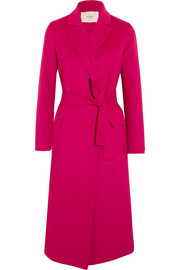 Belted wool-blend felt coat