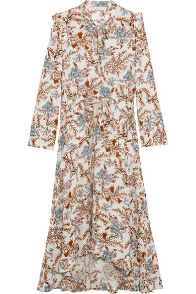 Maje - Asymmetric Pussy-bow Floral-print Crepe Midi Dress - Beige