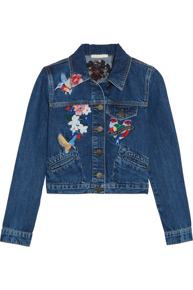 Maje - Cropped Embroidered Denim Jacket - Mid denim