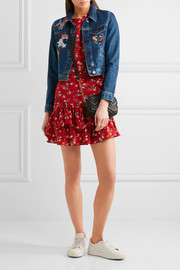 Maje Cropped embroidered denim jacket