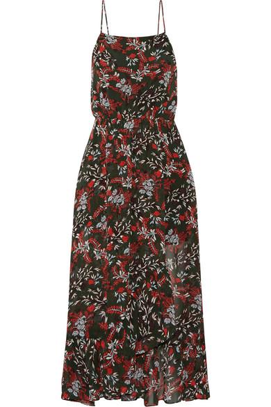 Maje - Ruffle-trimmed Printed Chiffon Midi Dress - Red