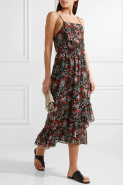 Maje Ruffle-trimmed printed chiffon midi dress