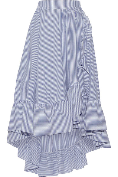 Maje - Wrap-effect Ruffled Striped Poplin Midi Skirt - Blue