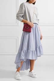 Wrap-effect ruffled striped poplin midi skirt