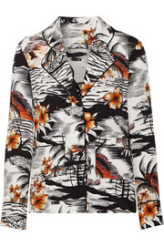 Maje Chat printed crepe shirt