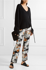 Maje Washed silk-trimmed printed crepe wide-leg pants